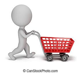 3d kleine Leute - Einkaufswagen