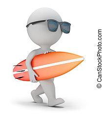 3d kleine Leute - gehen mit einem Surfbrett