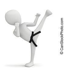 3d kleine Leute - Karatekämpfer.