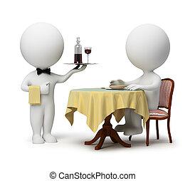 3d kleine Leute - Kellner und Kunde