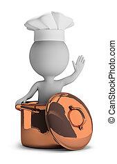 3d kleine Leute - kochen in einer Kupferpfanne