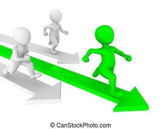 3d kleine Leute laufen. Wettbewerbskonzept.