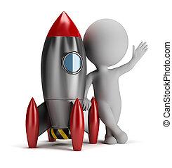 3d kleine Leute neben der Rakete