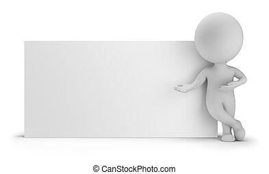 3d kleine Leute - neben einem leeren Brett