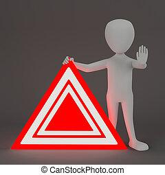 3D kleine Leute - Notzeichen.