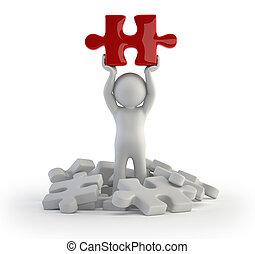 3d kleine Leute - rotes Puzzle.