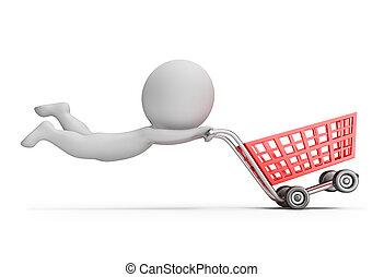3d kleine Leute - schnelle Einkaufswagen