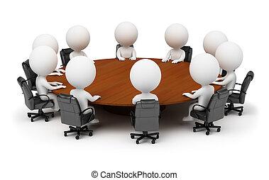 3d kleine Leute - Sitzung hinter einem runden Tisch