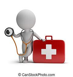 3d kleine Leute - Stethoskop und medizinische Ausrüstung
