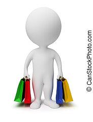 3d kleine Leute tragen Einkaufstüten