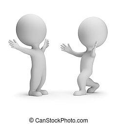 3d kleine Leute - Treffen zwei Freunde