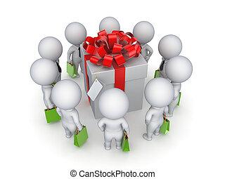 3d kleine Leute um den Geschenkkasten.