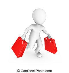 3D kleine Leute. Verkauf und Shopping-Konzept.