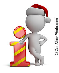 3d kleine Leute - Weihnachtsmann und Info-Icon