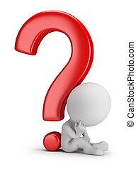 3d kleine Menschen - über die Frage nachzudenken
