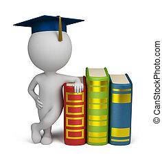 3d kleine Menschen - Absolvent und Bücher