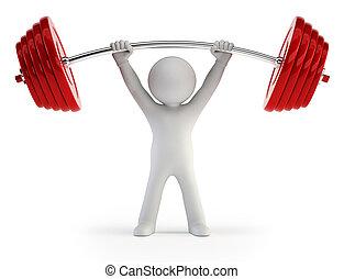 3d kleine Menschen - Athleten heben Gewichte.