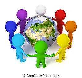 3d kleine Menschen - Frieden auf der Erde