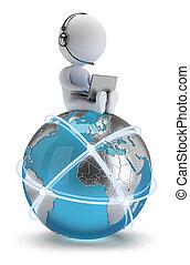 3d kleine Menschen - globales Netzwerk