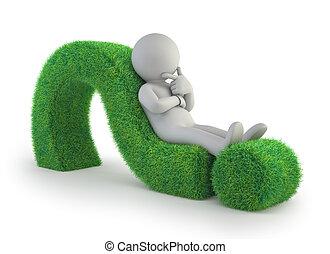 3d kleine Menschen - liegen auf einem grünen Fragezeichen.