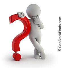 3d kleine Menschen - mit einem Fragezeichen