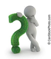 3d kleine Menschen - mit einem grünen Fragezeichen.