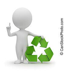 3d kleine Menschen mit einem Recycling-Symbol