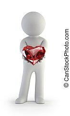 3d kleine Menschen - Rotes Herz in den Händen.