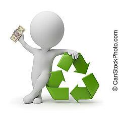 3d kleine Menschen - Zahlung für das Recycling