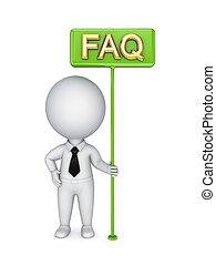 3d kleine Person mit einem grünen Bungner FAQ.