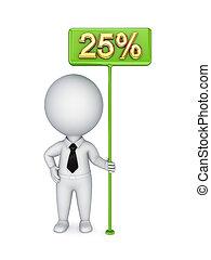 3D kleine Person mit einem grünen Bunner 25%.