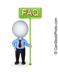 3d kleine Person mit einer grünen Bunner FAQ.