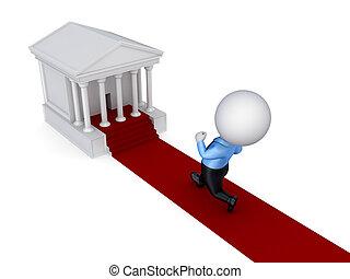 3d kleine Person rennt in ein Gerichtsgebäude.