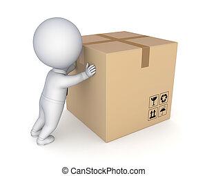 3d kleine Person und große Kartons.