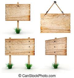 3d leeres Holzzeichen - Packung