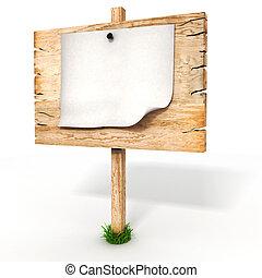 3d leeres Holzzeichen