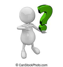 3D-Leute mit grünem Fragezeichen