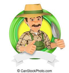 3D-Logo. Gärtner mit einem kleinen Spaten