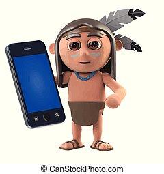 3d lustiger Comic-Eingeborener amerikanischer Inder mit einem Smartphone.