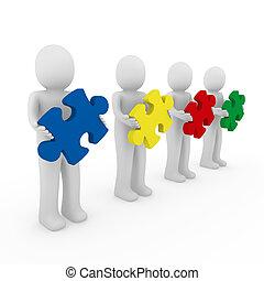 3d Männer Puzzle-Teamwork.