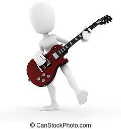 3D Mann Gitarrenspieler, Musikstar