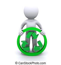 3D-Mann halten Recycling-Symbol