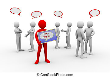 3d Mann Ihre Meinung - Menschen Diskussion