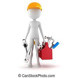 3D Mann mit Werkzeugkasten auf weißem Hintergrund