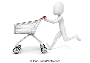3D Mann und Einkaufswagen auf weißem Hintergrund.