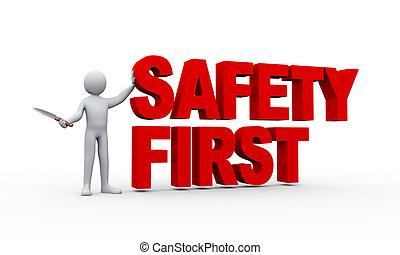 3d Mann und Sicherheit erste Konzept