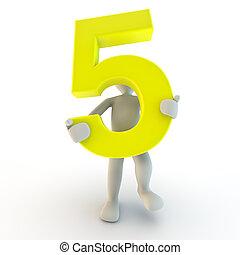 3D Mensch, der gelbe Nummer 5 in der Hand hat, kleine Leute
