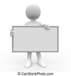 3D Mensch mit weißem Poster.