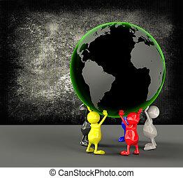 3D Menschen halten Erde