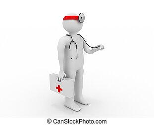 3D Menschen - Mensch, Mensch mit Stethoskop. Doktor